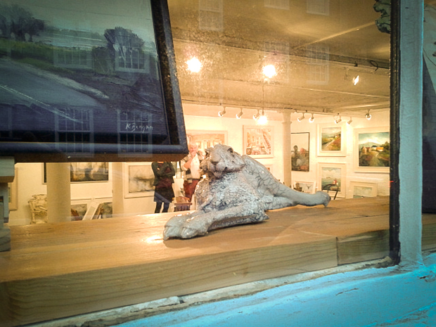 One of our hares in the gallery window