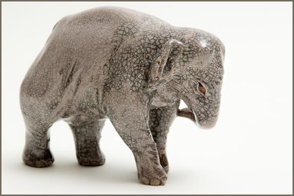Raku fired Elephant sculpture