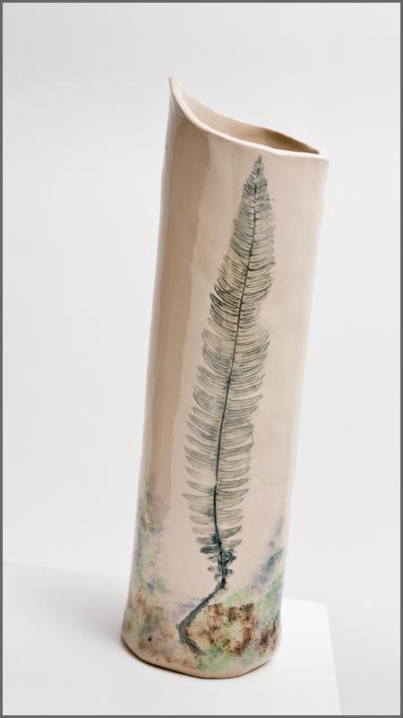 Scottish landscape on a vase, approx. 40cm high