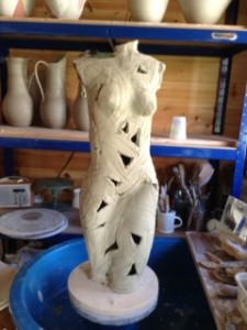 unfired figure just drying out
