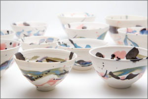 A collection of small porcelain bowls.