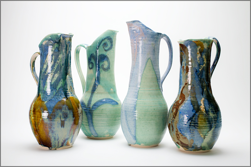 Large composite pitchers, with multiple glazes.