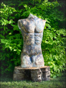 Male figure. Crank clay with oxide and glaze. Approximately 65 cm high.