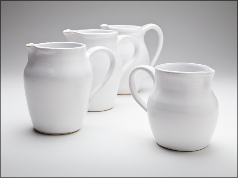 white glazed, stoneware jugs